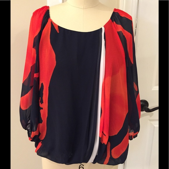 Vince Camuto Tops Red White Blue Blouse Size Medium Poshmark
